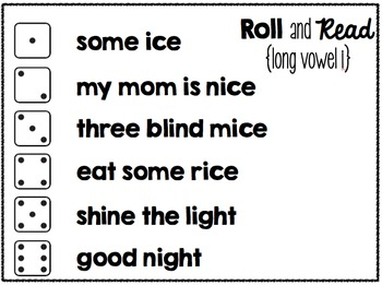 Roll and Read Fluency Phrases {Long Vowels}