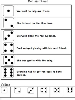 Roll and Read Fluency Practice