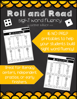Roll and Read Fluency - Primer sight words