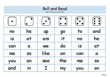 Roll and Read Fountas and Pinnell 25 words