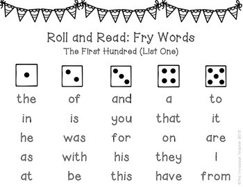 Fry Sight Words (The First Hundred Words) Roll and Read Games