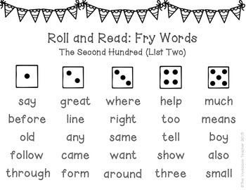 Fry Sight Words (The Second Hundred Words) Roll and Read Games