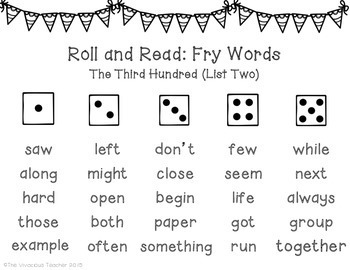Fry Sight Words (The Third Hundred Words) Roll and Read Games