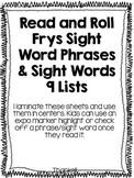 Roll and Read Frys Sight Words and Phrases