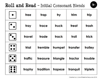 *FREE* Roll and Read - Initial Consonant Blends TR and TW
