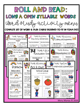 Roll and Read: Interactive Task Cards, Long A Open Syllable Words