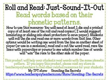 Roll and Read: Just-Sound-It-Out