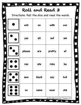 Roll and Read: Kindergarten Sight Words