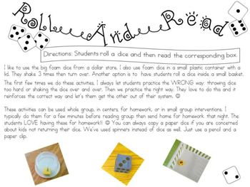 Roll and Read L BLENDS FLUENCY Interventions