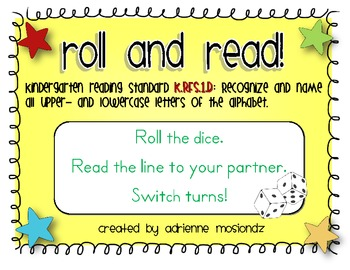 Roll and Read - Letter Naming Fluency