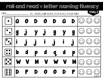 Roll and Read - Letter Naming Fluency FREEBIE