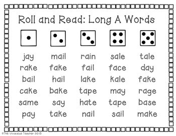 Long Vowels Roll and Read Games: Long A, E, I, O, and U Words and Nonsense Words