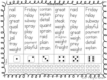 Roll and Read Long A Variants (Multisyllabic)  Interventions