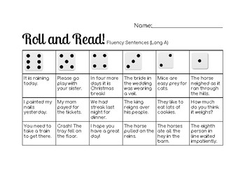 Roll and Read Long A Words