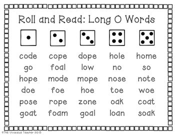 Long O Words and Nonsense Words Roll and Read Games