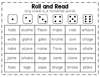 Roll and Read Long Vowel Sounds (CVCe)
