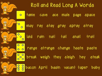Roll and Read Long Vowel Words