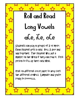 Roll and Read Long Vowels (VCe)