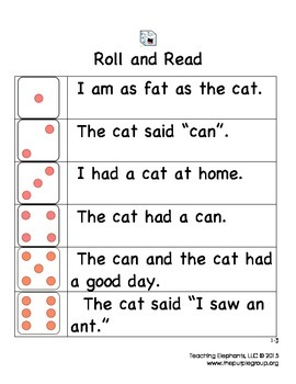 FREE First Grade Roll and Read