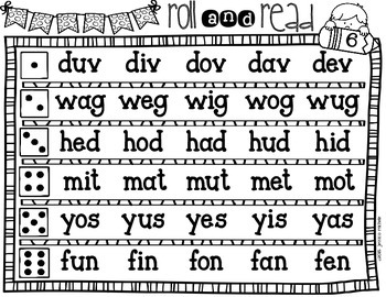 Roll and Read {Nonsense Words *All Vowels*}