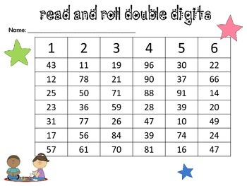 Roll and Read Number and Sight Word Identification
