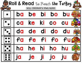 Roll and Read Phonics (Thanksgiving Theme)