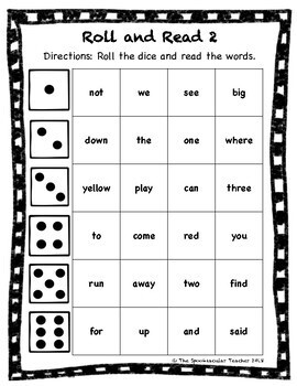 Roll and Read: Pre-K Sight Words