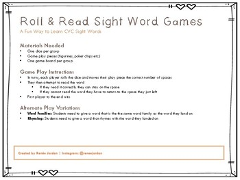Roll and Read Printable CVC Sight Word Games