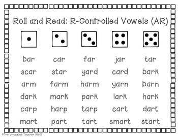 R-Controlled Vowels (AR, ER, IR, OR, and UR) Roll and Read Games