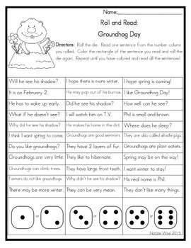 Roll and Read Reading Fluency: Groundhog Day