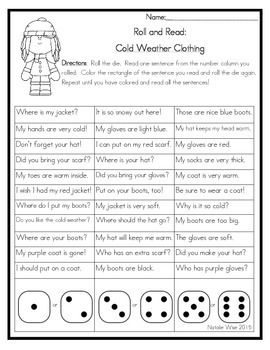 Roll and Read Reading Fluency: January