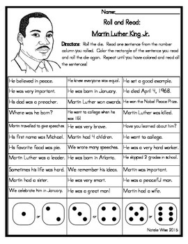 Roll and Read Reading Fluency: Martin Luther King Jr.
