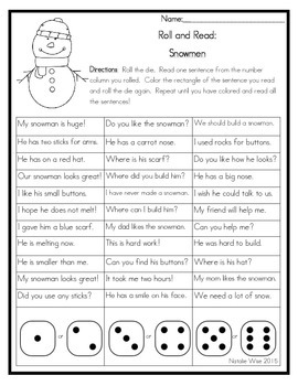Roll and Read Reading Fluency: Snowmen
