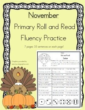 Roll and Read Reading Fluency: November