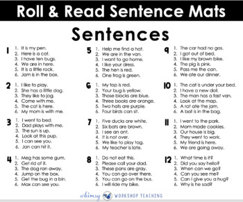 Roll and Read SENTENCES WITH BLENDS (55 pages) Whimsy Workshop Teaching