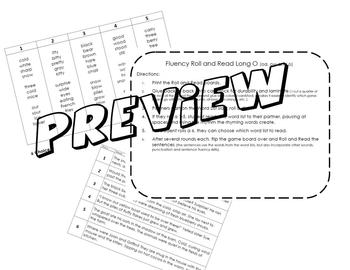 Roll and Read Sentence Fluency activity~ Long O (ow, oa, o)