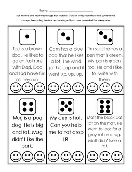 Roll and Read Sentences and Smileys