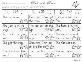 Roll and Read Short Vowel A for FLUENCY