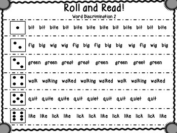 Roll and Read Sight Word Discrimination 2