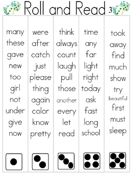Roll and Read Sight Word Practice #3