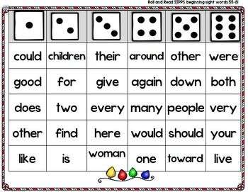 Roll and Read Sight Words - Christmas theme