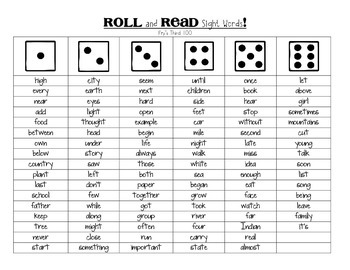 Roll and Read Sight Words Bundle - Fry's 1st, 2nd, and 3rd 100