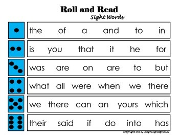 Roll and Read Sight Words Game