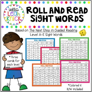 Roll and Read Sight Words - Jan Richardson Level A-E