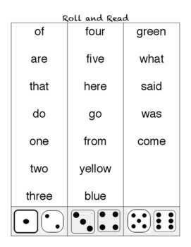 Roll and Read Sight Words (beginning)