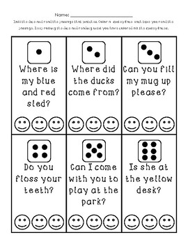 Roll and Read Smileys - Questions