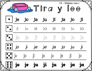Roll and Read Spanish syllables grouped by consonant