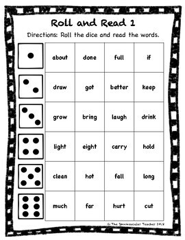 Roll and Read: Third Grade Sight Words