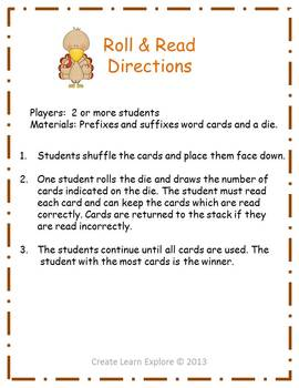 Prefixes and Suffixes Roll and Read Word Game Turkeys