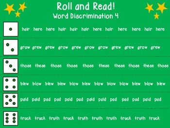 Roll and Read Word Discrimination 4